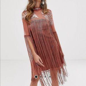 ASOS embroidered fringe dress